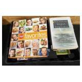 Flat of misc books. Food network favorites, Shari