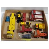 Flat of Tonka toy trucks and more