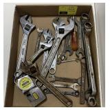 Tool Lot Including Wrenches,  Tape Measure, And