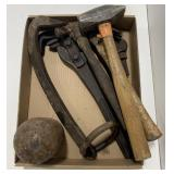 Lot of Tools Including Hammers, Monkey Wrench and