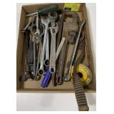 Tool Lot Including Scythe, C Clamp, Wrenches and