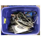 Lot of miscellaneous ropes, cords, chains, nails,