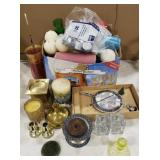 Candle Lot Includes Candle Holders, Snuffers,