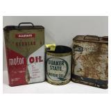 Vtg Allstate, Quaker & Unico Motor oil cans.