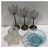 Lot of candle stick holders, glass lamp shade and
