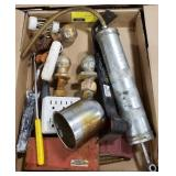Misc. Flat of Hitches, Outlet, Paint Roller,