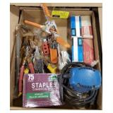Misc. Flat w/ Sander, Staples, Clamps, and More