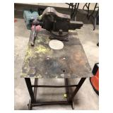 Wheeled table with cast iron Parker table clamp.
