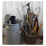 Lot of garden and lawn tool, garden steaks, and