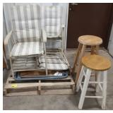 Pallet of card table, 4 folding chairs and 2 bar