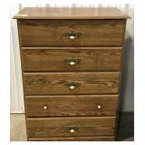Wood 5 drawer chest dresser