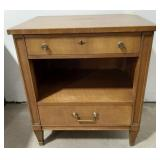 Wood endtable with two drawers and storage,