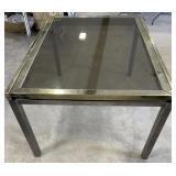 Large Brass Sliding Glass Extending Table