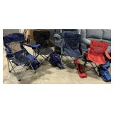 Four Folding camping chairs with case