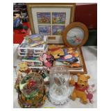 Misc. Lot of Winnie The Pooh items. Framed art,