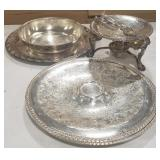 Misc. lot of silver tone trays and other