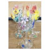 Wine Glasses w/ Handpainted Flower Detailing