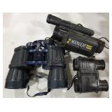 Two binoculars and one night vision monocular.