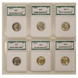 6 Mixed Mint State War Nickels Graded By ANI