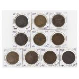 Lot of (10) US Large Cents 1847-1851