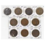 Lot of (10) US Large Cents 1851-1853
