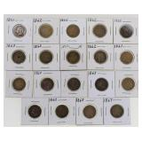 Lot of (19) US Copper Nickel Indian Cents 1859-64