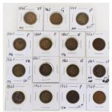 Lot of (15) US Indian Cents 1860-65
