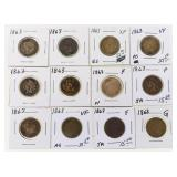 Lot of (12) 1863 US Copper Nickel Indian Cents