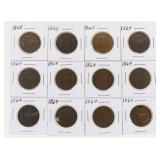 Lot of (12) US Two-Cent Pieces 1864-1868
