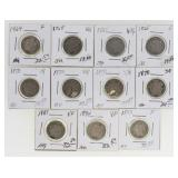(11) US 3 Cent Nickels 1865-1881