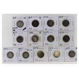 (13) US Silver Seated Dimes 1839-1877