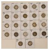 (22) US Silver Barber Dimes 1892-1907