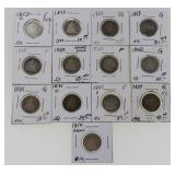 (13) US Silver Seated Dimes 1837-1854
