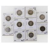 (10) US Silver Barber Dimes 1894-1910