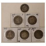 (6) US Silver Seated Quarters 1853-1877
