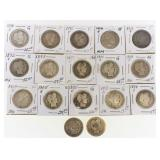 (17) US Silver Barber Quarters 1892-1914