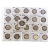 (21) US Silver Barber Quarters 1892-1909