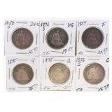 (6) US Silver Seated Quarters 1857-1876