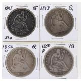 (4) US Silver Seated Half Dollars 1843-1858