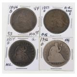 (4) US Silver Seated Half Dollars 1846-1856