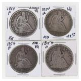 (4) 1854 US Silver Seated Half Dollars