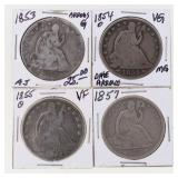 (4) US Silver Seated Half Dollars 1853-1857