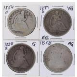 (4) US Silver Seated Half Dollars 1854-1877