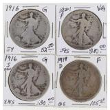(4) Key Date US Walking Liberty Half Dollars