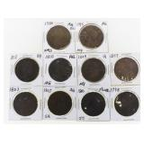 (10) US Large Cents 1793-1813