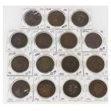 (15) US Large Cents 1818-1848