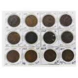 (12) US Large Cents 1831-1856