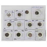 Mixed Lot Of 12 US Three-Cent Silver Coins