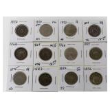 (12) 1866-1887 US Shield Nickels