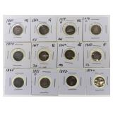 (12) US Seated Liberty Half Dime Silver Coins